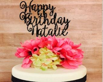 Custom Happy Birthday Cake Topper, Birthday Cake, Birthday Party, Birthday, Birthday Topper, Glitter Cake Topper, Glitter Topper