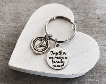 Together we make a family, Blended family, Stepmom, Stepdad, Stepson, Foster Mom, Mother in Law, Silver Keychain, Silver Keyring, Gifts