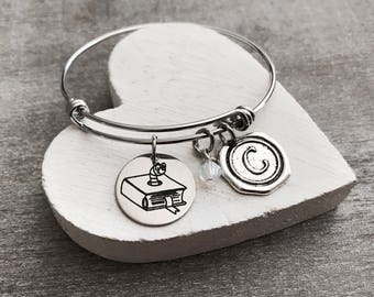 Stack of Books, Book Lover, Book Worm, Book Nerd, Teacher, Librarian, Book Club, Literature, Library, Silver Bracelet, Charm Bracelet, GIFTS