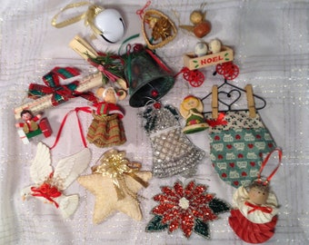 Large 16 Piece Lot of Crafty, Handmade Christmas Ornaments - Angel, Poinsettia, Bells, Dove, Star - Christmas Tree Ornaments & Decorations