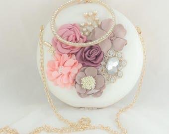 Bridal Clutch, White Bridal Handbag, Round Box Clutch, Gold Frame Blush Flower Handbag, Gold Wedding Accessories, Blush Pink Bridal Clutch