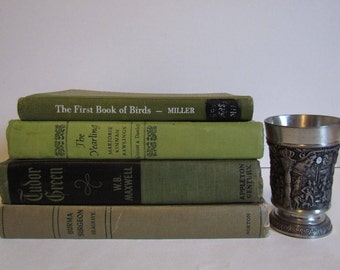 Green Vintage Old Book Set 4  Decorative Stacked Books Antique Book Stacks Photography Props Stack of Books Wedding  Coffee Table Decor