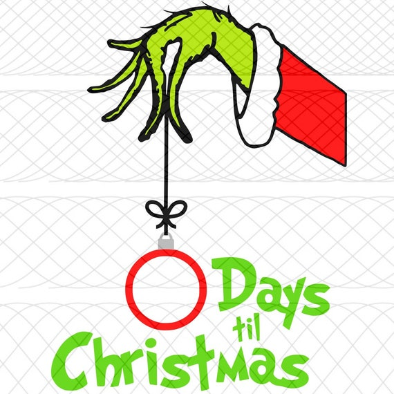 Grinch Hand Christmas Countdown SVG PNG and STUDIO3 Cut
