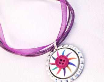 Bottle Cap Necklace - Bottle Cap Art - Bottle Cap Jewelry - Button Necklace - Button Jewellery - Purple Necklace - Purple Jewellery