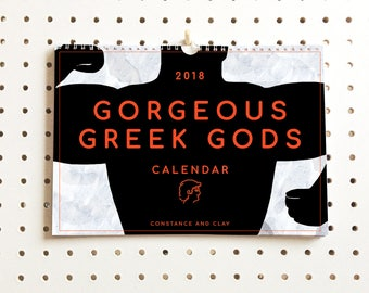 2018 Calendar, Greek God, Wall Calendar, 2018 Wall Calendar, Monthly Calendar, Calendar, Greek Gods, Gift for Her, BFF Gift, Ancient Greeks