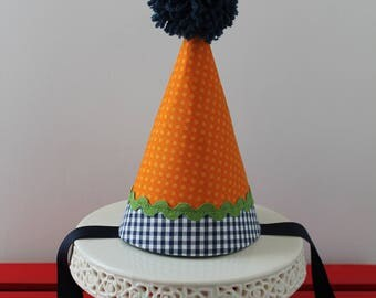 Blue Orange and Green Baby First Birthday Fabric Party Hat - Birthday Hat Pom Pom - First 1st Birthday Cake Smash Outfit - Birthday Pictures