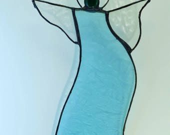Glass angel in light blue glass.