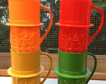 Set of Four Vintage Retro Collectible Advertising Mr. Peanut Mugs 1980s  C206