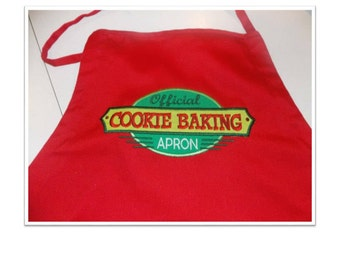 Official Cookie Baking Apron for Kitchen in Your Choice of Red, Green or Black Aprons.  Great for Cookie Exchanges and Holiday Baking.