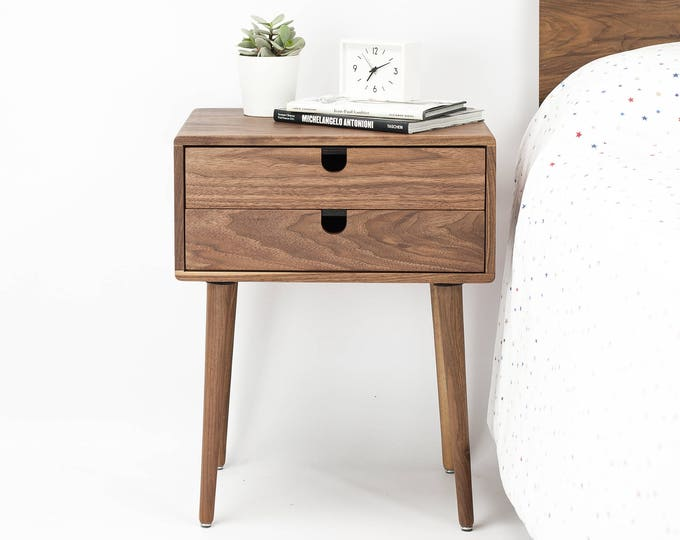 Mid-Century Modern Solid Walnut Nightstand with double drawers