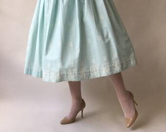 50s ice blue & white geometric print cotton circle skirt / S / M