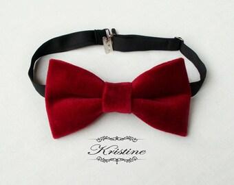 Men's red velvet bow tie - cotton velvet bow tie - handmade bowtie wedding groomsmen gift