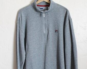 90s Vintage Fila Sweatshirt 90s Fila Patch Zip Up Pullover Sweatshirt Half Zipper Gray Sweatshirt Size Large