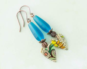 Boho Vintage Tin Heart Earrings with Blue Recycled Glass Beads and Antique Copper, Tin Heart Jewelry, Anniversary Gift