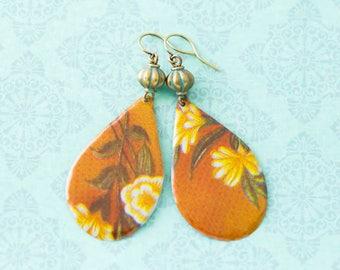 Large Dusty Rose Teardrop Earrings with Faux Verdigris Patina Antique Brass Beads, Boho Chic Earrings
