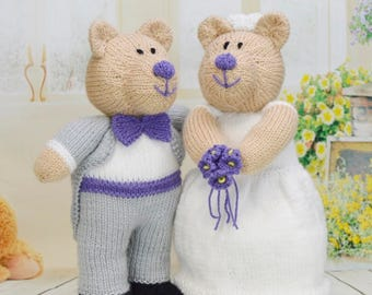 KNITTING PATTERN - Bearly Wed The Wedding Bears Knitting Pattern Download from Knitting by Post