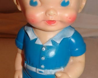"""Ruth E Newton The Sun Rubber Vtg Squeaky Doll 8 1/4"""" Squeaker Boy Blue Suit Toy"""
