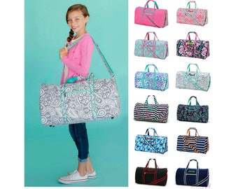 "Personalized Duffle Bag Gym Sports 21"" Tote Monogrammed Girls Boys Kids Child Childrens Paisley Polka Dot Pink Mint Navy Blue Floral Boho"