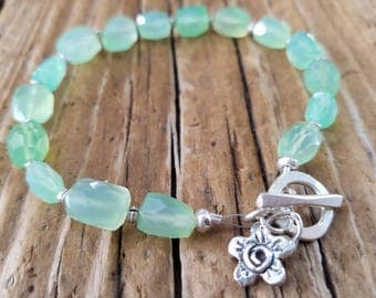 Chrysoprase Bracelet and Hill Tribe Silver, May Birthstone, Chrysoprase Nugget, Artisan Style, Sterling Silver Flower Charm, AAA Chrysoprase
