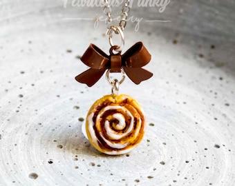 Cinnamon Snail Necklace Miniature Food