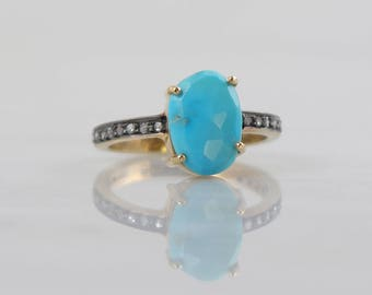 Sleeping beauty turquoise ring, Delicate Turquoise ring, Diamond and Turquoise ring,Black Rhodium gold ring,Natural Turquoise Stackable ring