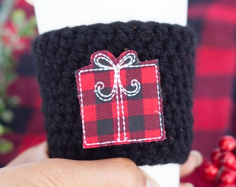 Buffalo Plaid - Christmas Cup Cozy - Coffee Lover Gift - Travel Coffee Sleeve - Coffee Cup Sleeve - Christmas Gift under 10-Stocking Stuffer