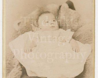 CDV Carte de Visite Photo Victorian Baby Portrait by Norman May & Co. of Malvern Cheltenham England