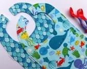 2 Pk - Toddler bibs - Ocean friends - Fish Pattern  - Bibs for Babies -  to Toddlers and beyond - Baby Bibs