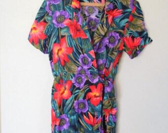 vintage rainbow hawaiian print romper jumper shorts suit womens *