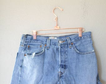 vintage 1980's distressed cut off levis 501 button fly  jean shorts 32 *