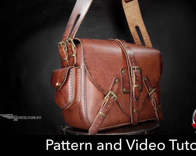 Bag Pattern - Leather DIY - Pdf Download - Leather Pattern - Doctor Bag Pattern - Messenger bag Pattern