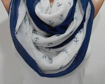 Valentines Gift For Her Anchor Scarf Shawl Nautical Scarf Infinity Scarf Sailor Scarf White Circle Scarf  Scarf  Fashion Accessory Holiday