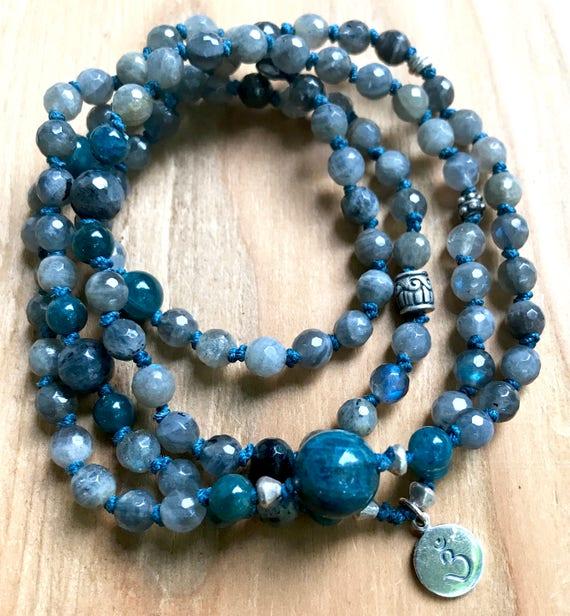 Third Eye Chakra Mala, Labradorite Mala Wrap Bracelet, Third Eye Mala, Ajna Chakra, Apatite,  Wisdom, Intuition, Psychic Awareness