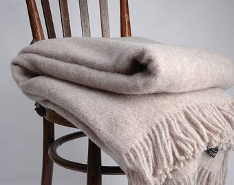 Pure Wool blanket with fringes Sand beige Wool blanket Pure wool throws Wool throw 55''X81''/140X205cm Perfect gift