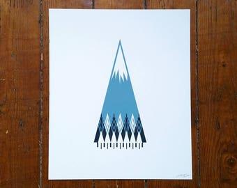 """Scandinavian Forest Mountain Screen Print 10""""x12"""" Art Poster by OR8 DESIGN"""