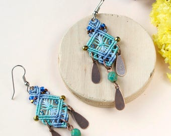 Macrame earrings, owls, beaded, bohemian, long, micro-macrame jewelry, beadwork, beadwoven, serenity blue turquoise gold, gift idea for her