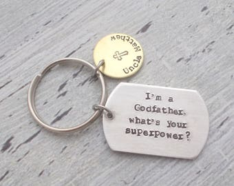 Personalized Godparent Gift, Personalized Godmother Gift, Personalized Godfather Keychain, Godparent Baptism Gift, What's Your Superpower