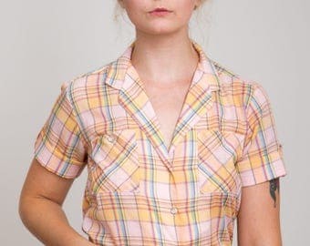 1980s Pastel Pink and Yellow Plaid Button Down Top - Country - Prarie - Classic - S/M