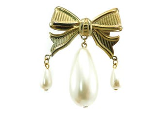 Vintage Faux Pearl Bow Brooch, Dangles