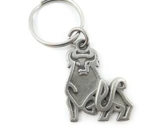 Vintage Bull Key Chain, Pewter