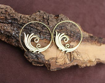 Spiral Earrings, Large Earrings, Tribal Jewellery, Ethnic Earrings, Boho Hoop Earrings, Brass Earrings, Boucles d'oreille Laiton Spirale