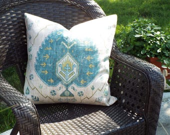 Blue Moroccan Medallion Pillow Cover, 20 x 20 Square Pillow Cover