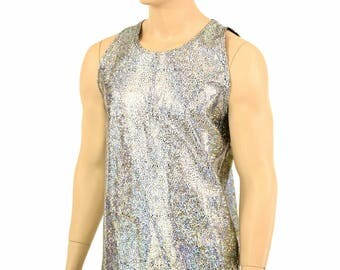 Mens Silver on Black Shattered Glass Holographic Muscle Shirt Mens Rave or Festival Shirt 152306