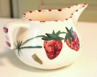 Vintage California Pottery Creamer Fruit Pattern Strawberries Hand Painted Pink Red Strawberry Kitchen Serving Poinsettia Studios California