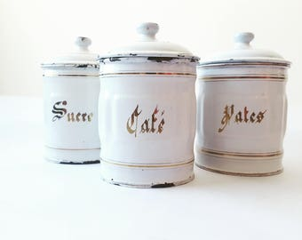 1930's French Kitchen white and gold CANISTERS SET of 3/French enamelware/ French decor /French kitchen /Shabby/Easter
