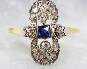 Antique Edwardian Sapphire + Diamond Belle Époque Ring 18ct Gold Platinum / Size O