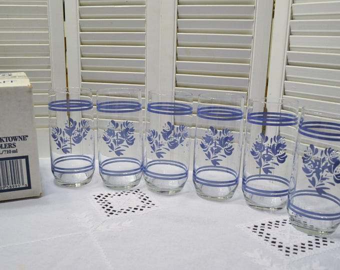 Vintage Pfaltzgraff Yorktowne Glass Tumbler Set of 6 Large Coolers Ice Tea Glassware 24 ounce Libbey New in Box PanchosPorch