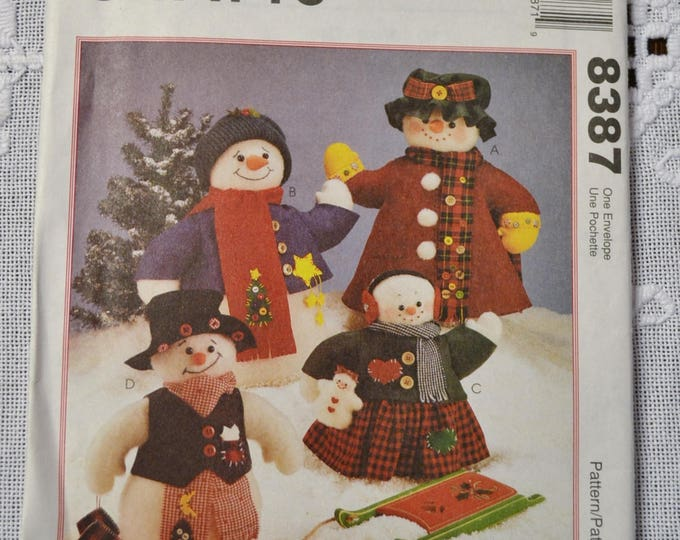Vintage McCalls 8387 Doll Pattern Snowman Family Winter Christmas Holiday Sewing Pattern DIY Fashion Sewing Crafts PanchosPorch