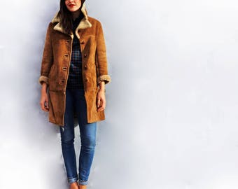 Leather Shearling Coat, Vintage 70s Leather Sheepskin Coat, Warm Leather Winter Coat, Leather Coat, Duster Coat Leather, Boho Shearling Coat