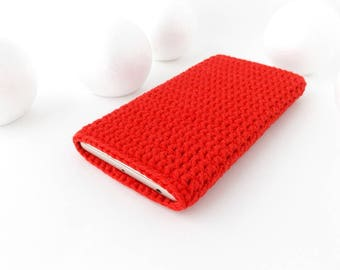 Red iPhone 7 cover, LG K10 case, crochet Pixel sleeve, Samsung S7 cozy, eco LG G5 sock, Lenovo K6 pouch, vegan Honor 8 cover, red phone case